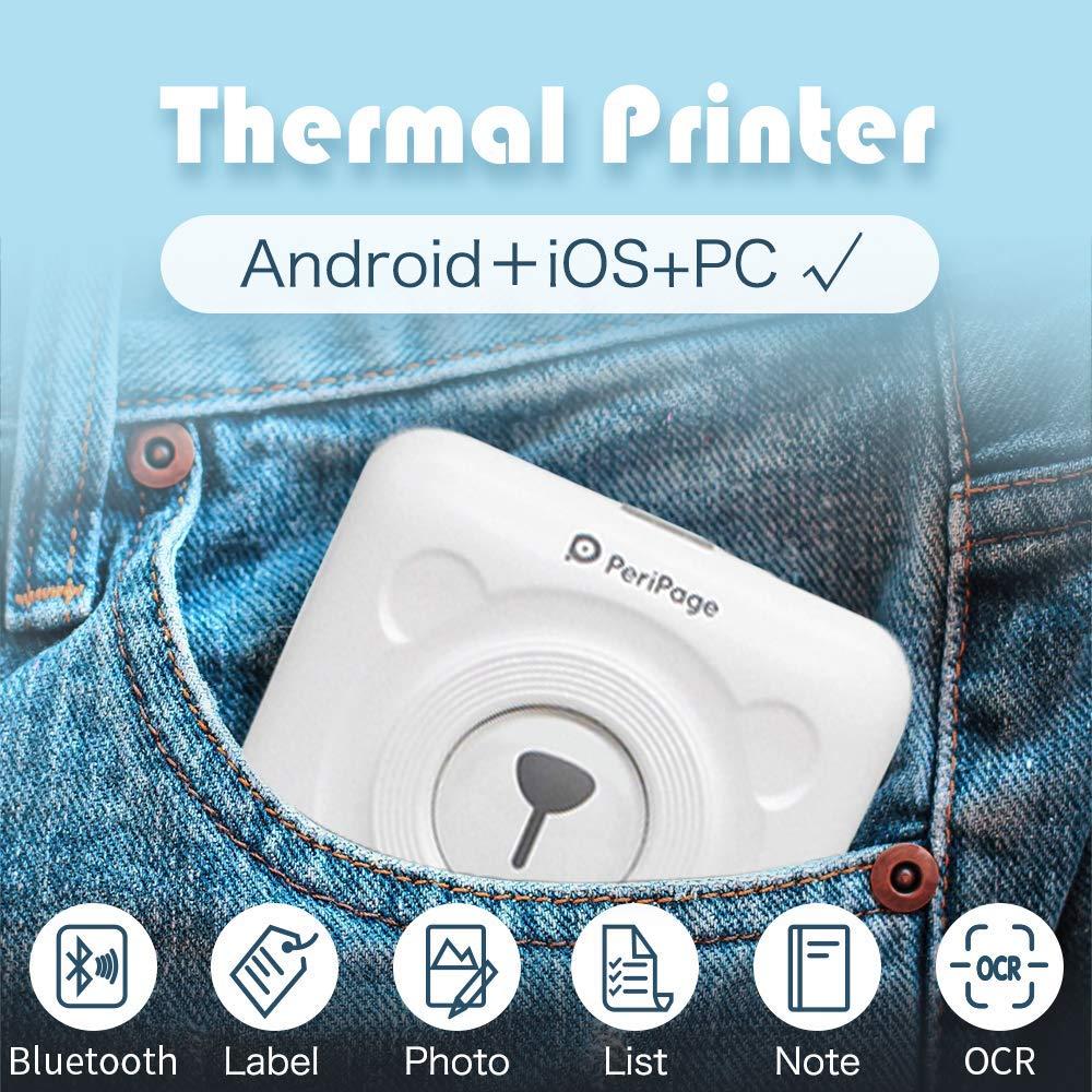 """מוצרי טיפוח ובריאות מדפסת תרמית ניידת PeriPage מיני תמונות Pocket תמונה מדפסת 58 מ""""מ מדפסות אנדרואיד Bluetooth אלחוטית הדפסה IOS (3)"""