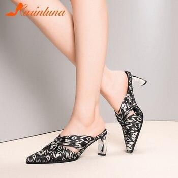 Karinluna 2020 Fashion New Big Size 42 Pointed Toe Mix Color Shoes Woman Pumps Mules Slip On Strange Style Summer Pumps Women