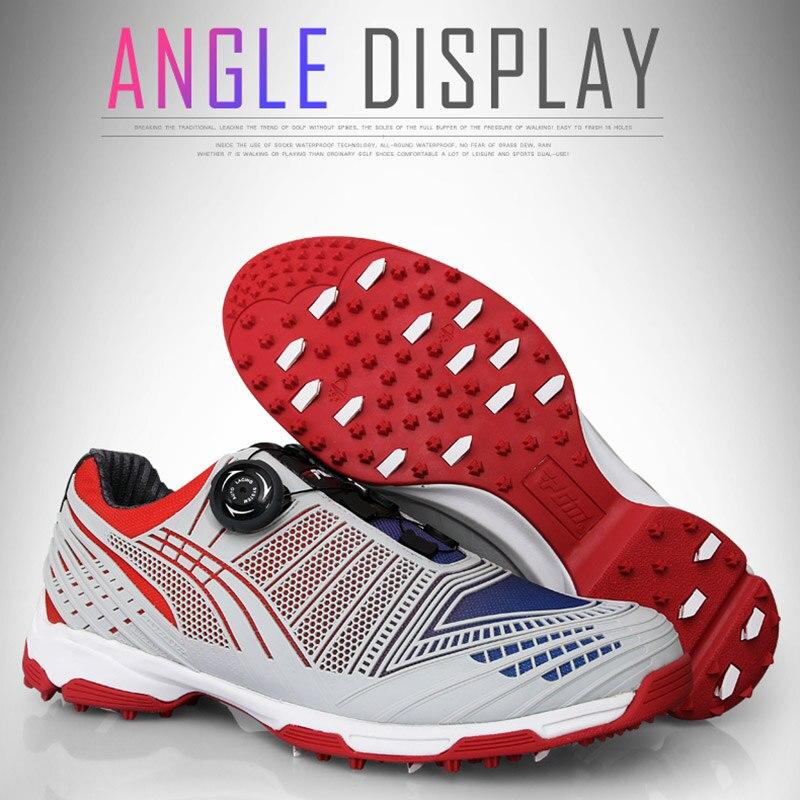 Sapatos de Golfe Sapatos à Prova Drawbar Masculino Esportes Dwaterproof Água Tênis Botões Cadarço Fivela Anti-derrapante Whshopping