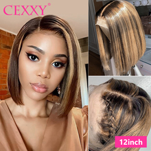 Highlight Ombre Hair Wig Straight Lace Front Wig 13*4 Short Bob Wigs For Black Women Remy Hair Blonde Highlight Human Hair Wigs