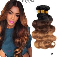 Remy Hair-Bundles Human-Hair Ombre Blond Body-Wave Dreamdiana Pre-Colored Brazilian Brown
