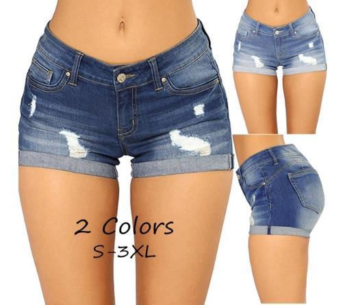 Women Pencil Stretch Denim Skinny Shorts 2019 Summer High Waist Trousers Fashion Ripped   Jeans   for Woman