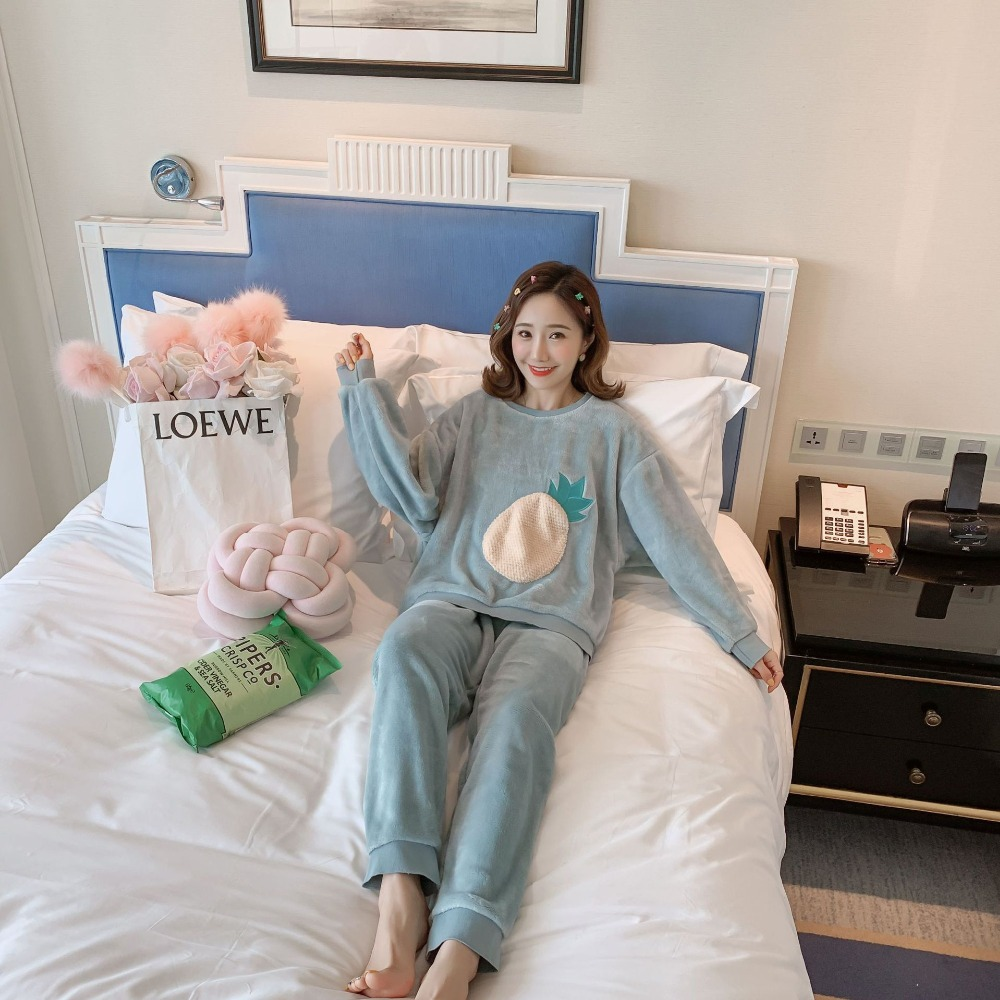 Betyline 2019 New Winter Pajamas For Women Sleepwear Warm Flannel Long Sleeves Pajamas Cute Animal Homewear Thick Homewear 186