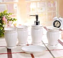 Bone China Five-Piece European Ceramic Bathroom Set Toiletries bathroom decoration accessories  decor