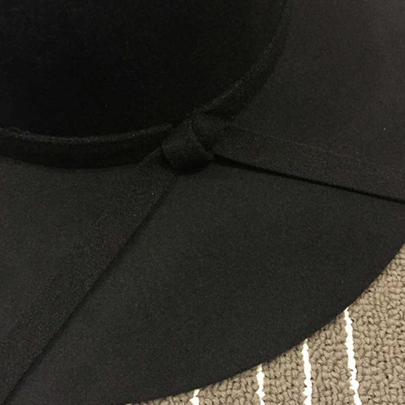 الشتاء واسعة حافة خمر قبعات صوف النساء فيدورا قبعة أنيقة الكورية الأزياء الأحمر السببية أسود حزب السيدات القبعة المستديرة fascinator