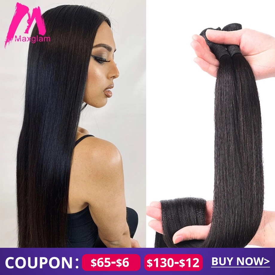Brazilian Hair Extension Bundles 8 To 30 40 Inch Human Hair Bundles Non-remy Natural Straight Short Long Hair Weave 1 3 4 Pieces