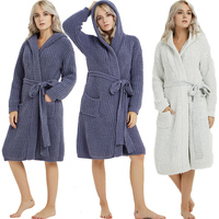 New Thicken Nightgowns Hooded Winter Bathrobe Women Pajamas Bath Warm Robe Sleepwear Knitted Open Kimono Cardigan Pyjama Leisure