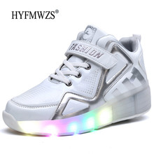 HYFMWZS/ г. Модные двухколесный светодиодный Heelys обувь дышащая детская обувь съемные детские тонкие Ролики 30-40