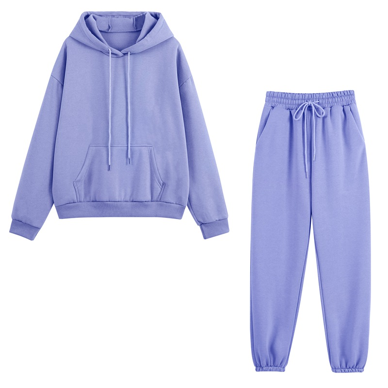 Fleece Tracksuits Women Two Pieces Set Hooded Oversized Sweatshirt Pants Solid Color Hoodie Suits Autumn Winter Casual Outfits 1