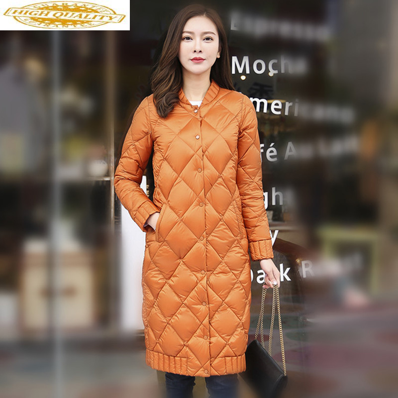 Long Ultra Light Down Jacket Women Autumn Winter Puffer Coat Korean Clothes For 2020 Casacas Para Mujer 8728 KJ3082