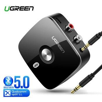 Ugreen Bluetooth RCA odbiornik 5.0 aptX LL 3.5mm Jack Aux Adapter bezprzewodowy muzyka dla telewizor z dostępem do kanałów samochód RCA Bluetooth 5.0 3.5 odbiornik Audio