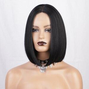 AISI волосы 12 дюймов средняя часть прямой черный парик синтетические парики для чернокожих женщин термостойкое волокно парик