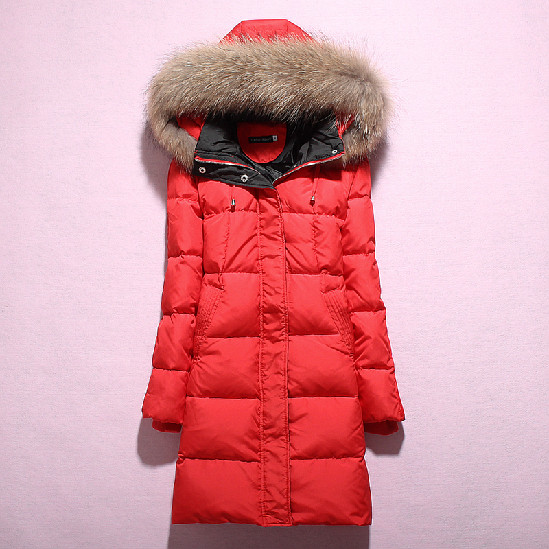 Down Women's Jacket Hooded Long Autumn Winter Coat Women Racoon Fur Collar Women's Jackets 2020 Doudoune Femme KJ1020 S