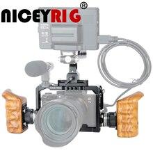 Niceyrigلسوني A7RIII/A7MIII/A7RII/A7SII/A7III/A7II هيكل قفصي الشكل للكاميرا عدة مع مقبض خشبي قبضة HDMI مشبك كابلات أري جبل