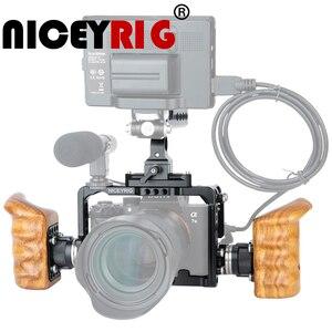 Image 1 - Niceyrig Voor Sony A7RIII/A7MIII/A7RII/A7SII/A7III/A7II Camera Kooi Kit Met Houten Handvat grip Hdmi Kabel Klem Arri Mount