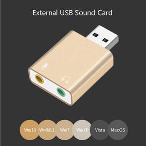 Aluminum Alloy External USB Audio Adapter Sound Card with 3.5mm Stereo Headphone and Mono Microphone Jack Audio Sound Card