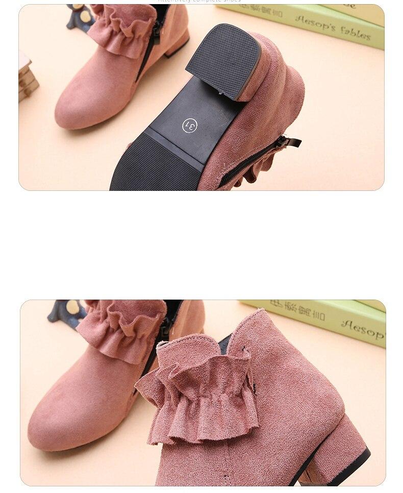 XinYiQu Girls Low Heels Flower Princess Boots Anckle Bootie