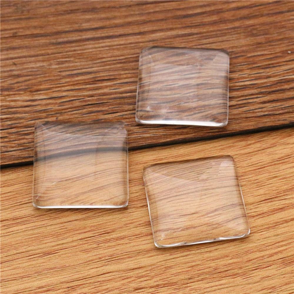 6pcs/lot 25mm Square Flat Back Clear Glass Cabochon, High Quality, Lose Money Promotion!!!(Z4-03)