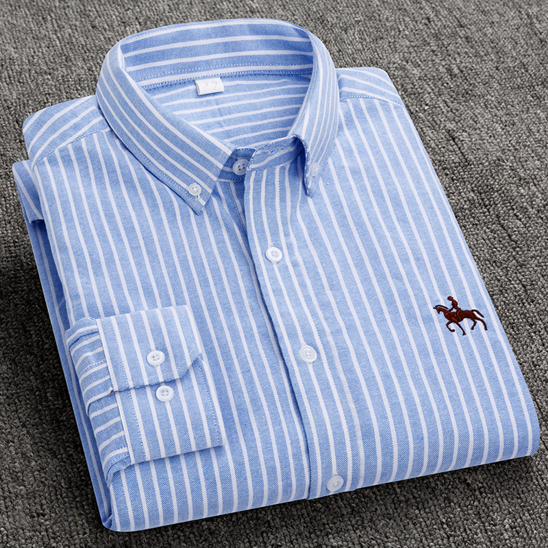 S-6XL Plus size New  OXFORD FABRIC 100% COTTON excellent comfortable slim fit button collar business men casual shirts tops 22
