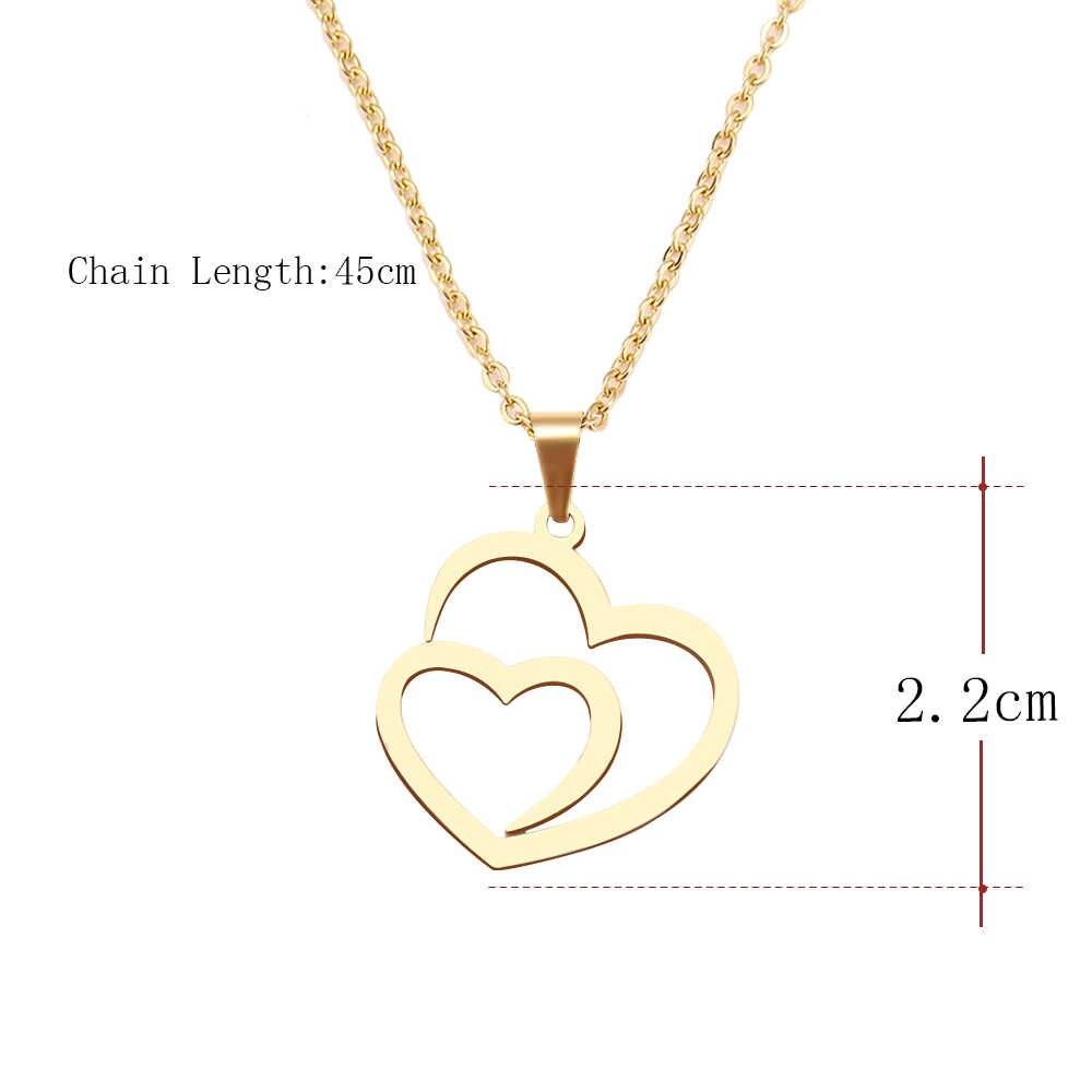 CACANA naszyjnik ze stali nierdzewnej dla kobiet Man Hollow podwójne serce Choker naszyjnik biżuteria zaręczynowa