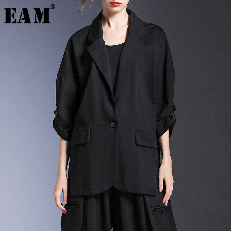 [EAM] Loose Fit Black Split Big Size Jacket New Lapel Three-quarter Sleeve Women Coat Fashion Tide Spring Autumn 2020 1H688