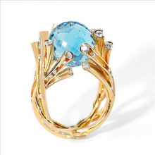 Unique Gold Blue Crystal Glass Bead Ring Exquisite Cute Leaf Ring Birthday Christmas's Gifts Fine Jewelry chic blue bead and leaf shape embellished retro ring for women