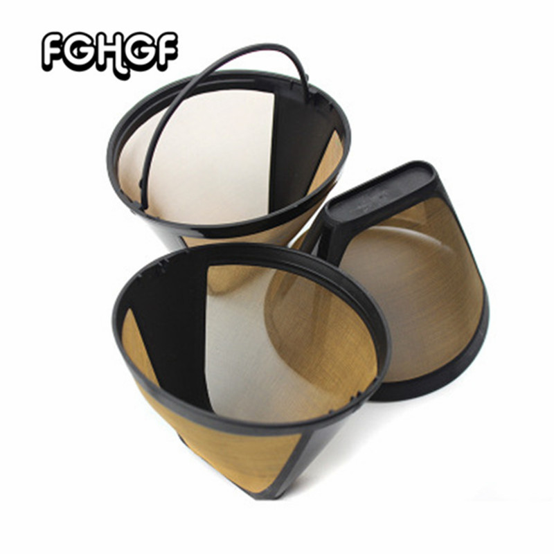 1 Pcs Coffee Maker Accessories Stainless Steel Reusable Cone-Style Kitchen Gadgets Coffee Filter Handmade Kitchenware