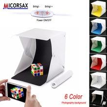 Miniature Lightbox Photo Studio Softbox 2 LED Lamp Soft Box 6pcs Photography Background Shooting Light Box with Light Adjuster aluminum photo frame with led light lightbox