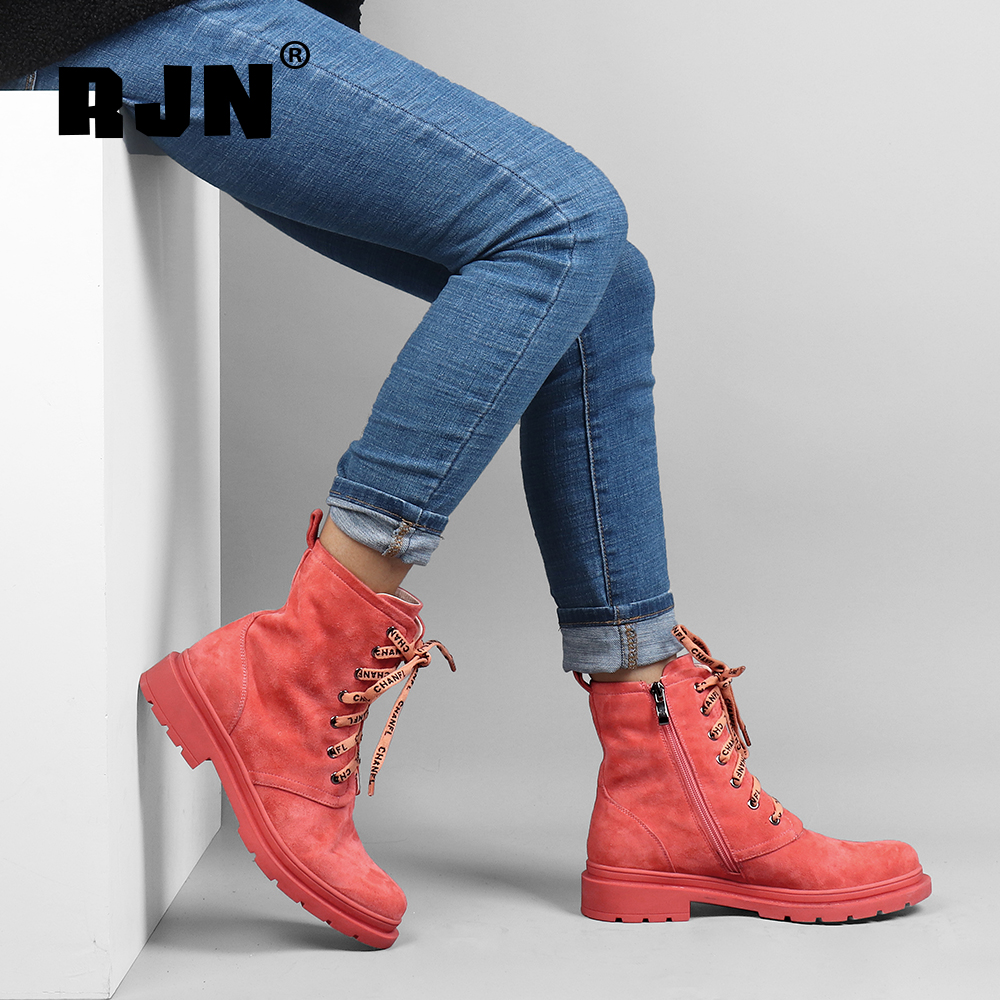 Cheap RJN Candy Color Ankle Boots Kid Suede Shoelace Decoration Comfortable Round Toe Square Heel Shoes Stylish Women Winter Boots R09