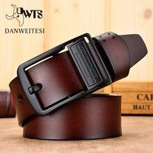 DWTS Cinturón de cuero genuino para hombre, cinturón de lujo de cuero de vaca genuino
