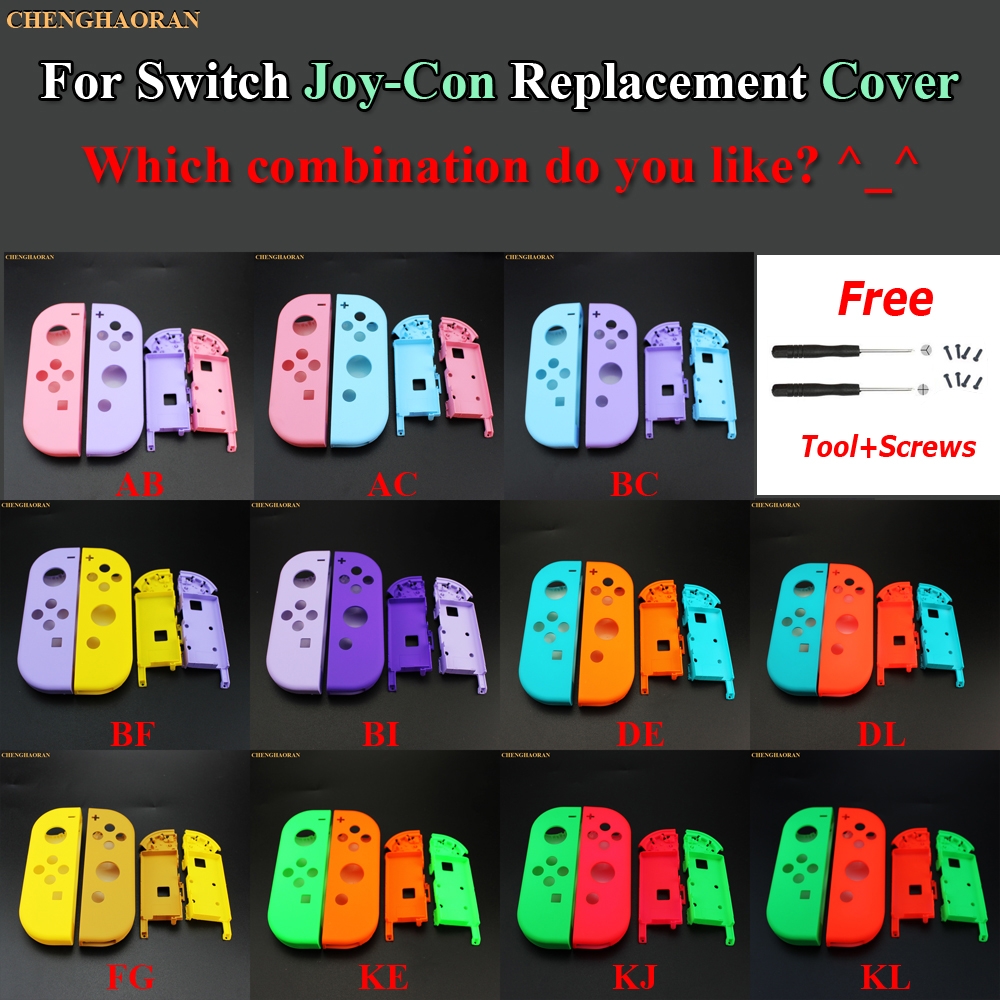 1Set Candy Color Combine For Nintend Switch Joy-Con Replacement Housing Shell Cover Joy Con Controller Hard Case Pink Blue