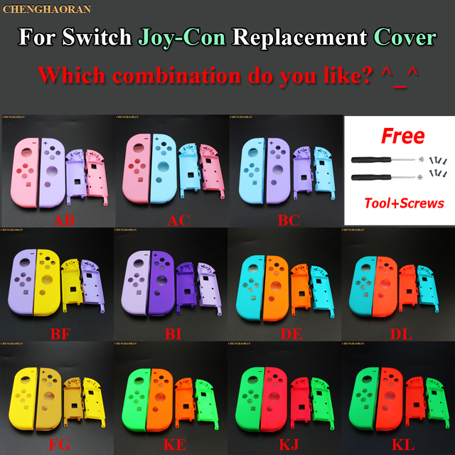 1Set Candy Color Combine for Nintend Switch Joy Con Replacement Housing Shell Cover Joy Con Controller hard Case Pink Blue