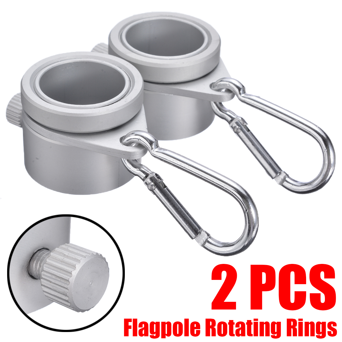 2pcs lot New Aluminium Alloy Flag Pole Flagpole Rotating Rings Clip Anti Wrap Grommet Mounting Rings Kit Silver