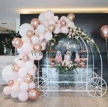 파스텔 베이비 핑크 화이트 마카롱 풍선 아치 세트 웨딩 신부 샤워 파티 배경 Decoation Wall Organic 1