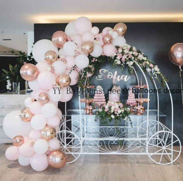 Globo de color blanco y rosa Pastel para bebé, juego de arco de macarrón, boda, despedida de soltera, fiesta, fondo, decoloración, pared, orgánico, 1