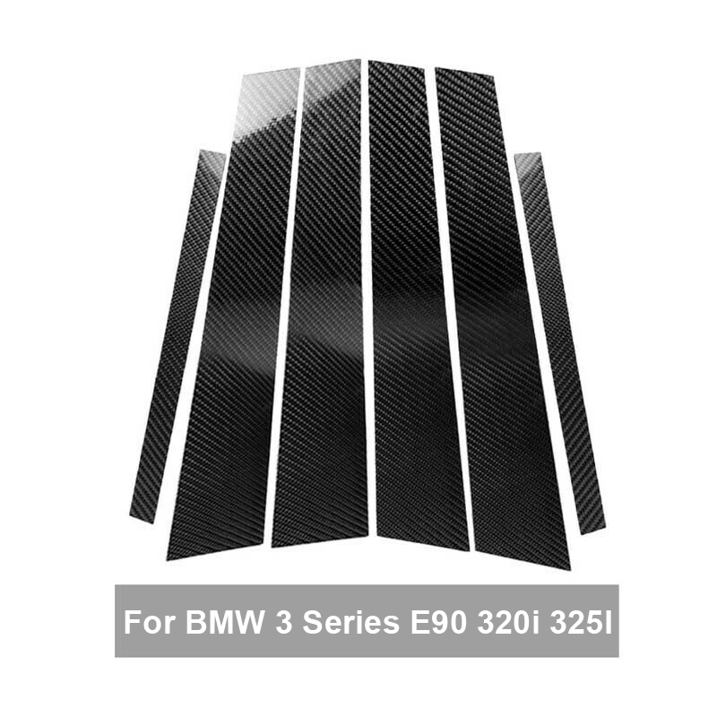 6pcs auto Car Carbon Fiber B Pillar protective Sticker Moulding Trim car styling accessories for BMW 3 Series E90 320i 325i in Chromium Styling from Automobiles Motorcycles