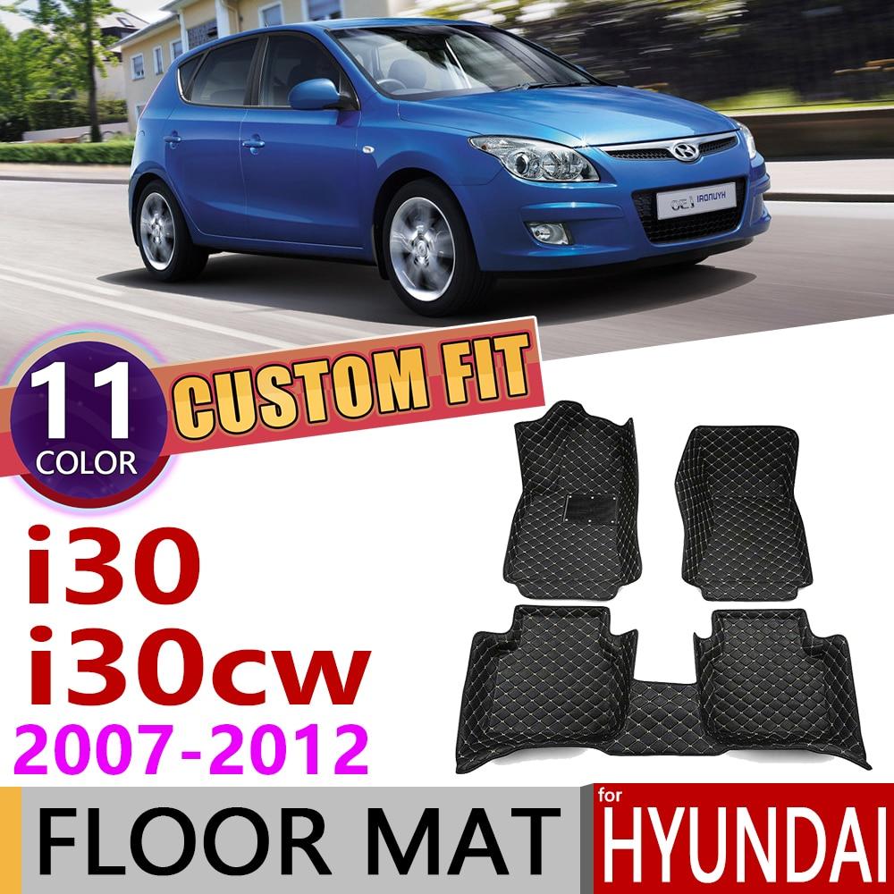 Custom Car Leather Floor Mats For Hyundai I30 I30cw FD Wagon 2007~2012 5Seats Foot Pad Carpet Accessories 2008 2009 2010 2011
