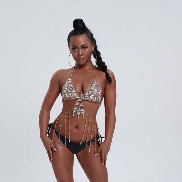 Nowy Boho Rhinestone łańcuchy ciała plaża gwiazda Bikini stanik z łańcuchami moda urok uprząż akcesoria do ciała biżuteria dla kobiet i dziewcząt