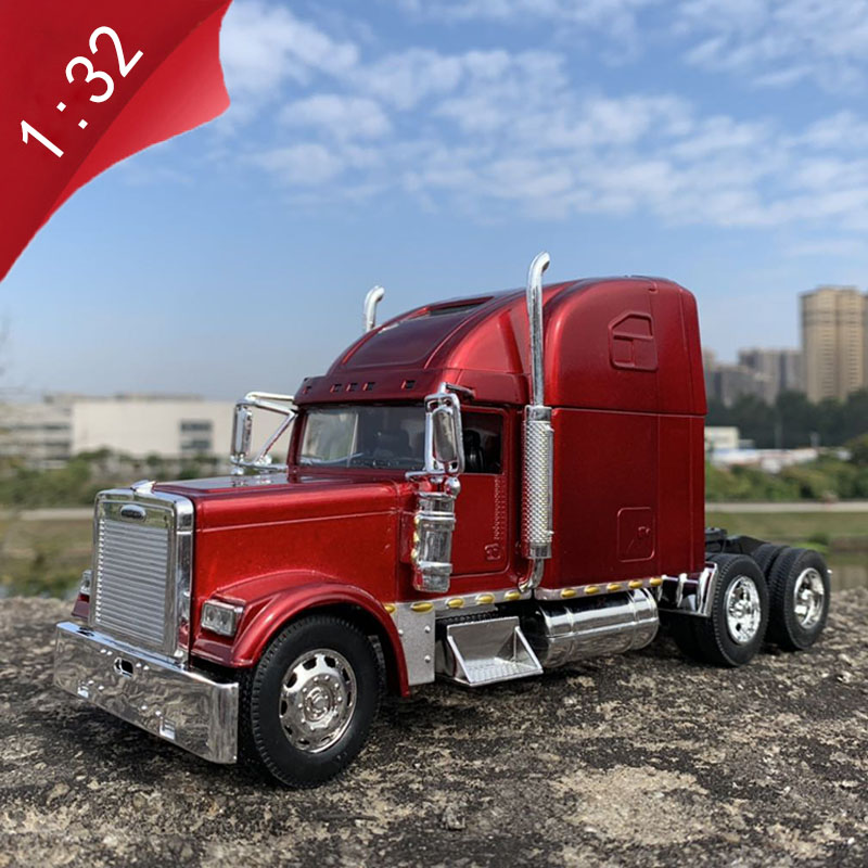 1:32 Scale Diecast Metal Alloy Vehicle American Heavy Trailer Trailer Head Model Toys Accessories Gift Collect Assemble Display
