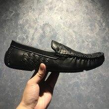2019 NOVO mens designer de sapatos Doug sapatos sapatos de couro Genuíno Sapatos Baixos sapato Tecer sapatos de couro dos homens de Lazer da moda dos homens
