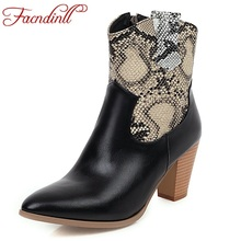 FACNDINLL women boots fashion ankle for round toe high heels woman autumn winter female black riding