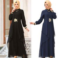 KALENMOS Autumn New Muslim Robes Elegant Middle Eastern Women's Long sleeved Dress Micro Stand Collar Solid Color Loose Dress