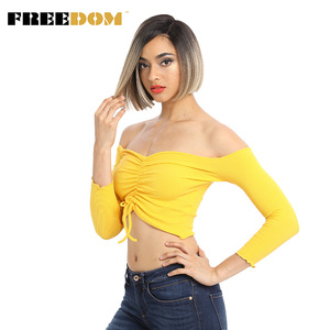 Image 1 - FREEDOM Colorful Short Straight Wigs For Black Women Ombre Dark Roots Brown Synthetic Lace Front Wig Natural Hair wigs Glueless