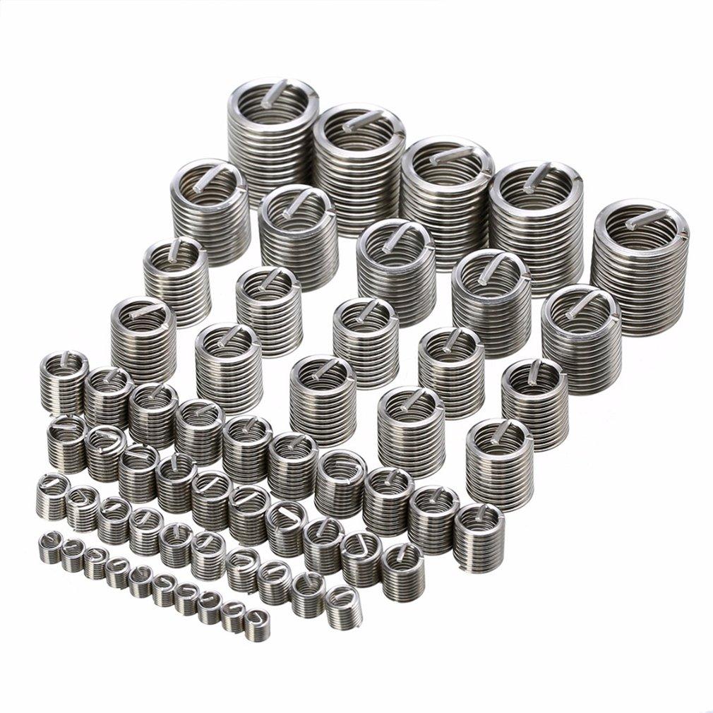 60PCS M3-M12 Stainless Steel Thread Repair Insert Kit Set Wire Thread Insert Wire Screw Sleeve For Hardware Repair Tools