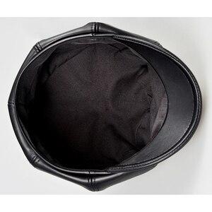 Image 5 - Prawdziwej skóry Beret kapelusz zima wiosna kapelusze dla kobiet malarz czapka gazeciarza Vintage Beret kobieta czarny Boinas styl angielski kapelusz