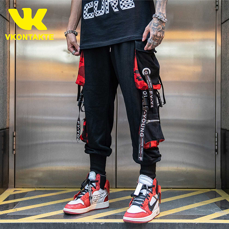 Multi Buckle Ribbons Pockets Joggers Cargo Harem Pants Streetwear 2019 Men Autumn Hip Hop Casual Sweatpants Male Pants