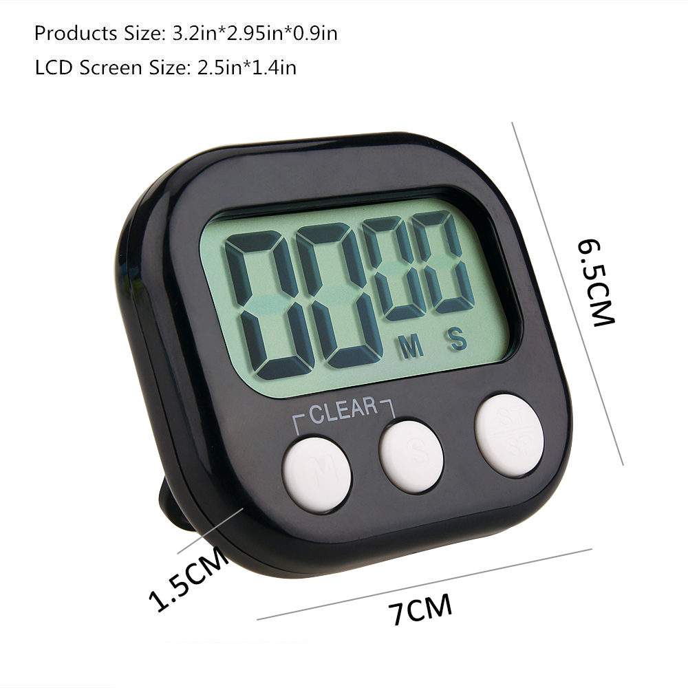 Digital Kitchen Timer Big Digits Loud Alarm Magnetic Backing Stand with Large LCD Display for Cooking Baking Sports Games 6