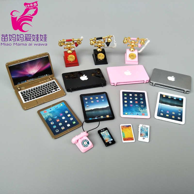 Mini laptop portatile per 1/6 1/8 1/12 bjd barbie blythe licca doll usa il telefono con ciondolo per il telefono retrò della bambola