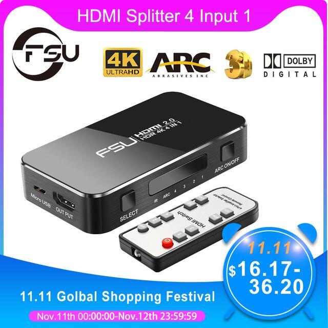 FSU HDMI Splitter 4อินพุต1เอาต์พุตHDMI HDR 4X1สำหรับHDTV PS4 4K Audio extractor 3.5แจ็คARC HDMI Switcher Adapter