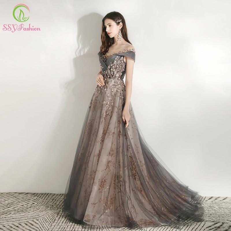 SSYFashion New Banquet Elegant Evening Dress Scoop Sequins Appliques Floor-length Long Prom Formal Gown Vestidos De Noche